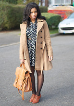 Shirley B. Eniang - H&M Trench, Primark Dress, Topshop Satchel, Primark Brogues - The Girl in a Blue Polka Dot Dress.