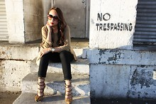 Jacqueline N - H&M Poncho Sweater, J Brand Skinny Jeans, Rock And Republic Leopard Strappy Pumps - Worn down surroundings