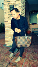 Raymond Robles - Louis Vuitton Damier Ebene Canvas Neverfull Mm, Assymetrical Criss Crossed Long Sleeve, Hare Unconventional Stripes Harem Pants, Fila Beige Espadrille - You drive me crazy