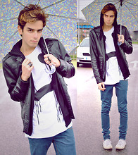 Gianni Sarracino - Marc By Jacobs Umbrella, Long Cry Tshirt, Asos Double Croucifix Ring, Cheap Monday Leather Jacket, Studded Customized Superga - Quit Crying your Eyes Out