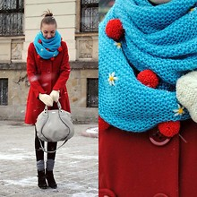 Ryfka (Szafa Sztywniary) - Cubus + Diy Pompoms And Flowers Scarf, H&M Red Coat, Thrifted Gloves, Ochnik Leather Bag, Boots - If 40 is the new 20, then 30 is the new 10, right?