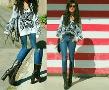 Olivia Lopez - Barlow Dumont Sweater, Addison Platform Boots - Boxy Sweaters and Platform Boots