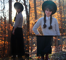 Lauren Winter - Vintage Zodiac Knee Boots, American Apparel Black Chiffon Maxi Skirt, Thrift Store Vintage Cable Knit Sweater, Thrift Store Wide Brimmed Wool Hat, American Apparel Peter Pan Collar Blouse - Into the woods