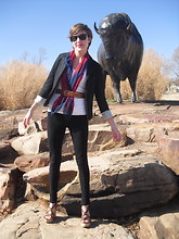 Ajenda J - Forever 21 Blazer, Black Jeans, Paris Scarf, Vintage Belt, Studded Wedges, Ray Ban Ray Bans - Welcome to Oklahoma
