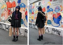 Wends Ma - Leg Warmers, Vintage Studded Beanie, Zipia Fur Trimmed Cape, Initial Angora Sweater, Initial Pony Hair Collar Silk Shirt, Leather Back Pack, Floral Socks, Demonia Studded Creepers - Saké