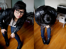 Jenn Wong - Wilson's Jacket, Thrifted Lace Shirt, Thrifted Boots - Slow Graffiti