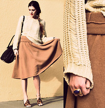 Laura Ellner - Zara Skirt, Lf Chunky Knit Sweater, Yves Saint Laurent Cocktail Ring, Alexander Wang Diego Bag, Alexander Wang Leopard Mules - In The Nude