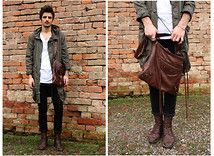 Andrea Bressani - H&M Parka, Cheap Monday Skinny, Basic T Shirt, Balenciaga Bag, Marc By Jacobs Boots - Looking Forward to Spring