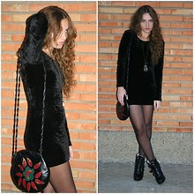 Marta Castellanos - Pink Head Velvet Dress, Blanco Boots, Primark Bag - I don´t wannabe a skinny bitch