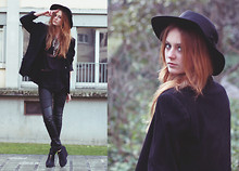 Katrina J. - H&M Leggings, Monki Top, Ali's Mom's Blazer, Vintage Hat, H&M Necklace - Satellite gave up the ghost too soon
