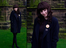 Maggie Matic - Thrifted Navy Blue Pea Coat - <3