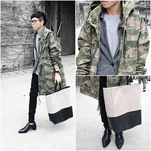 Curtis Yu - Céline Cabas Tote Bag, Alexander Wang Shoes, Dress Code Coat - Camouflage