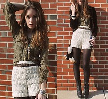 Lauren Schoonover - Vintage Crochet Shorts, H&M Striped Tights - Wallflower
