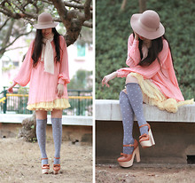 Mayo Wo - Monki Nude Hat, Undefined Peach Pleated Dress, Zeemo Lemon Tutu, Opening Ceremony Chunky Mary Jane - Strawberry & lemon sorbet