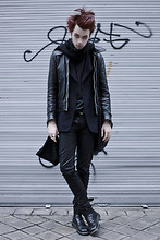CLEMENT LOUIS . - Black Cashemere Scarf, Frip Black Leather Perfecto, The Kooples Blue Blazer, The Kooples Leather Jeans, Dr. Martens Leather Boots - TO CREATE IS TO DESTROY/ CLEMENTLOUIS