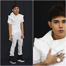 Karl Philip Leuterio - Forever 21 White Ring, Thank You Today Deconstructed Vest, Don Protasio Asymmetrical Shirt, Diy Shredded Shirt, Hongkong Skinny Trousers, Soule Phenomenon Andre Wedge, Rebel Grear Talon Ring - So broken