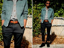 Brandon Chase - Brown Tint Clubmasters, Full Button Up Vintage Cardigan, Moms Vintage Jacket, Weekend Trousers, High Top Zig Zag Shoes - Semiformal