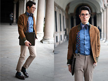 Filippo Fiora - Vintage Jacket, Church's Shoes, Prada Pants, Louis Vuitton Briefcase - Nerdish attitude