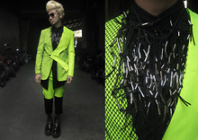 Andre Judd - Jerome Salaya Ang Ss2011 Neon Cutout Suit And Shorts With Mesh Combi, Ac For Fh Metal Beaded Suede Neckpieces, Andre Judd Matte Croc Platform Boot - Neon Hitch