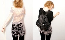 Rebecca S - Homemade Shredded Top, Second Hand Batwing Top, My Old Schoolbag Backpack, H&M Treggins - To shreds