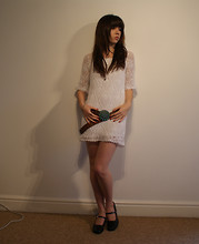 Becky May - Vintage Mary Janes, Mistral Turquiose Belt, I Forget Where Crochet Dress - Mini Crochet