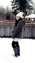 Emilia J - Propaganda Military Jacket, J. Crew Rainboots, Stiches Lace Frock, I Knitted :) Knit Hat - Baby, it's cold outside.