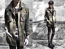 IVAN Chang - Cheap Monday Vest, Cheap Monday Skinny - 030311 Military X Leopard X Rivet