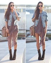 Aimee Song - H&M Denim Jacket, Threadsence Asymmetrical Dress - Asymmetrical Lengths