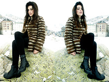 Aida Domenech Aida D - Mango Coat, Zara Dress, H&M Boots - Days of snow and fur coats.