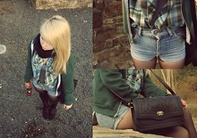 Anna Bolika - Volocom Shirt, Levi's® High Waist Shorts, American Apparel Sweater, Primark Leather Bag - Unloveable