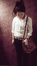 Emilia J - Gap Dress Shirt, Bdg Skinny Jeans, Vintage Handbag, Urban Outfitters Belt, Fossil Watch - I love high ponytails