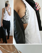Sietske L - Ebay Rhinestone Bra, Only Edge Collection Leather Jacket, Monki Dropped Armhole Tanktop - SILVER/PINK