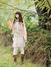 Anto S. - H&M Blouse, Vintage Babdydoll, Vintage Handmade Sweater, Vintage Handmade Scarf - The girl in the forest - mori girl