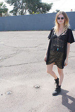 Taylor C - Miu Sunglasses, Anthropologie Kimono, Shakuhachi Tank Top, Isabel Marant Skirt, Dr. Martens Boots - 80 degrees in March.