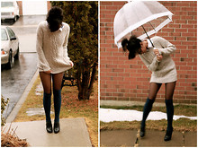 Christiane D - American Apparel Over The Knee High Socks, Long Wooly Sweater, White Collared Button Up Shirt, Aldo Black Modern Oxford Stilettos - Spring is creeping up on you.