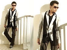 Sam Guison - Thrift Store Off White Blazer, A Local Department Store Black Stretch Scarf, Folded And Hung Black Striped Pants, Wade Gray High Cut Sneakers, Penshoppe Black Longsleeves, Folded And Hung Dark Sunglasses - Cigsmoker --- Black and White Edition