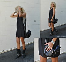 Anna V - Vero Moda Mesh Dress, Paris Bikers, Gina Tricot Chain Bag, Sportsgirl Ring - Black on black