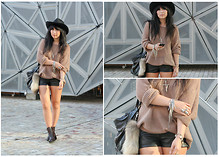 Sam S - Sportsgirl Knit, H&M Leather Shorts, Vintage Hat, Faux Tail - Fashion Week > Day One