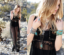 Shea Marie - Lf Sheer Dress, Jeffrey Campbell Boots, Bracelets, Necklaces, Forever 21 Fringe Vest - The beginning of a haute indian summer