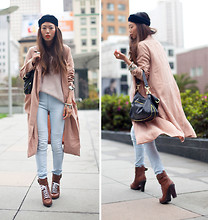 Aimee Song - American Apparel Head Scarf, La Moxie Coat, H&M Light Wash Skinny Jeans - Blush Tones