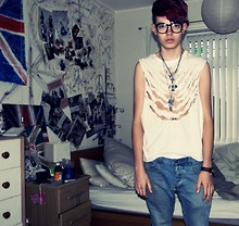 Jordan Campbell - D.I.Y Shredded Top, Topman Jeans, Vivienne Westwood Necklace, River Island Other Necklaces, H&M Glasses, Michael Korrs Watch - It's not like the movies