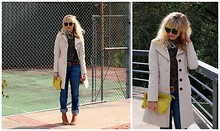Taylor Sterling - Bebe Trench, Modcloth Leopard Top, American Apparel Round Sunglasses, Club Monaco Yellow Clutch, Gap Boyfriend Jeans, Zara Wedges - Mash Up