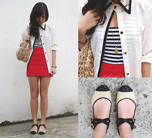 Kryz Uy - Kryz Uy For Suelas Shoes I Designed!, Clubcouture Polo, Club Couture Striped Tank, Clubcouture Red Skirt, Benefit Bazaar Bag For A Cause - Madeline
