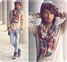Bobby Raffin - Topman Geo Printed Circle Scarf, Zara Lightweight Dress Shirt, H&M Light Acid Washed Jeans, Beanie, Skull Bracelet, Mexico Zigzag Bracelet, H&M Leather Bracelet, Combat Boots - This place is a prison.