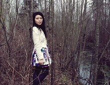 Emilia J - Zara Blazer, Urban Outfitters Garden Party Dress, Club Monaco Purple Tights - Nature's sanctuary