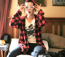 Miche Frances - $4 Second Hand Clothing Store Red Flannel Shirt, Farmers Tattoo Print Tee Shirt, Just Jeans Blue, Dogs Breakfast White Reading Glasses, $1   $8 Shop Red Bandanna - Work Couture