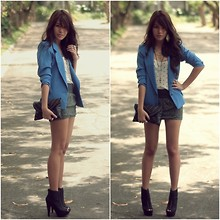 Cheyser Pedregosa - Forever 21 Layered Cross Necklace, Thrifted Blue Blazer, Prp Booties - That Blue Blazer