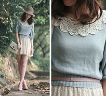Mayo Wo - Kari Ang Glittery Mary Jane, Laurustinus Crochet Collar, Snidel Baby Blue Sweater, Zara Cream Sequin Skirt, Topshop Baby Pink Lace Tights, Laurustinus Bag, Monki Nude Hat - Baby blue & baby pink
