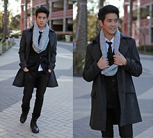 Peter Adrian - Evike Combat Boots, H&M Charcoal Pea Coat, Foreign Exchange Circle Scarf, H&M Black Military Blazer, Black Tie, White Dress Shirt, Black Pants - Little darling, it's been a long cold lonely winter
