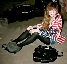 Hal Liebling - Unif American Flag Button Up, Acne Studios Atacoma Wedges, Givenchy Pandora Bag, Concrete Polish By Angela Monaco Rings, Zara Cutoffs - HAIL TO OLD GLORY.